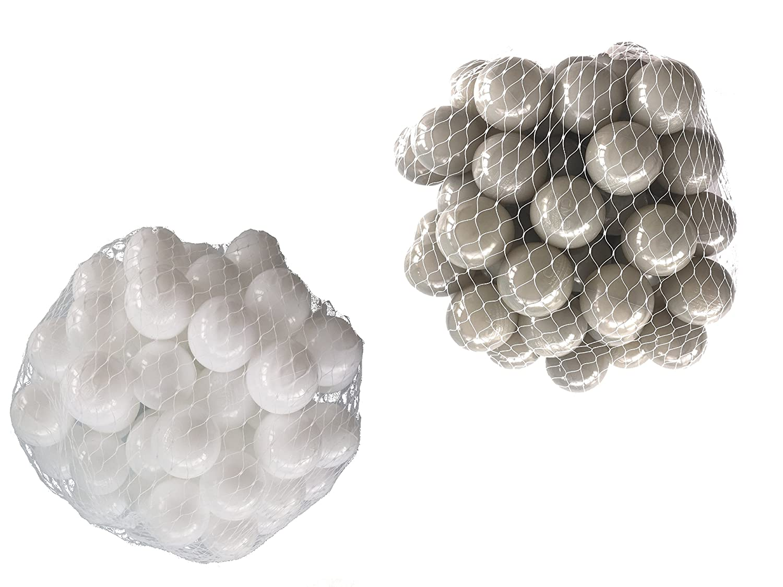 100 Bälle für Bällebad gemischt mix mit grau und weiß mybällebad
