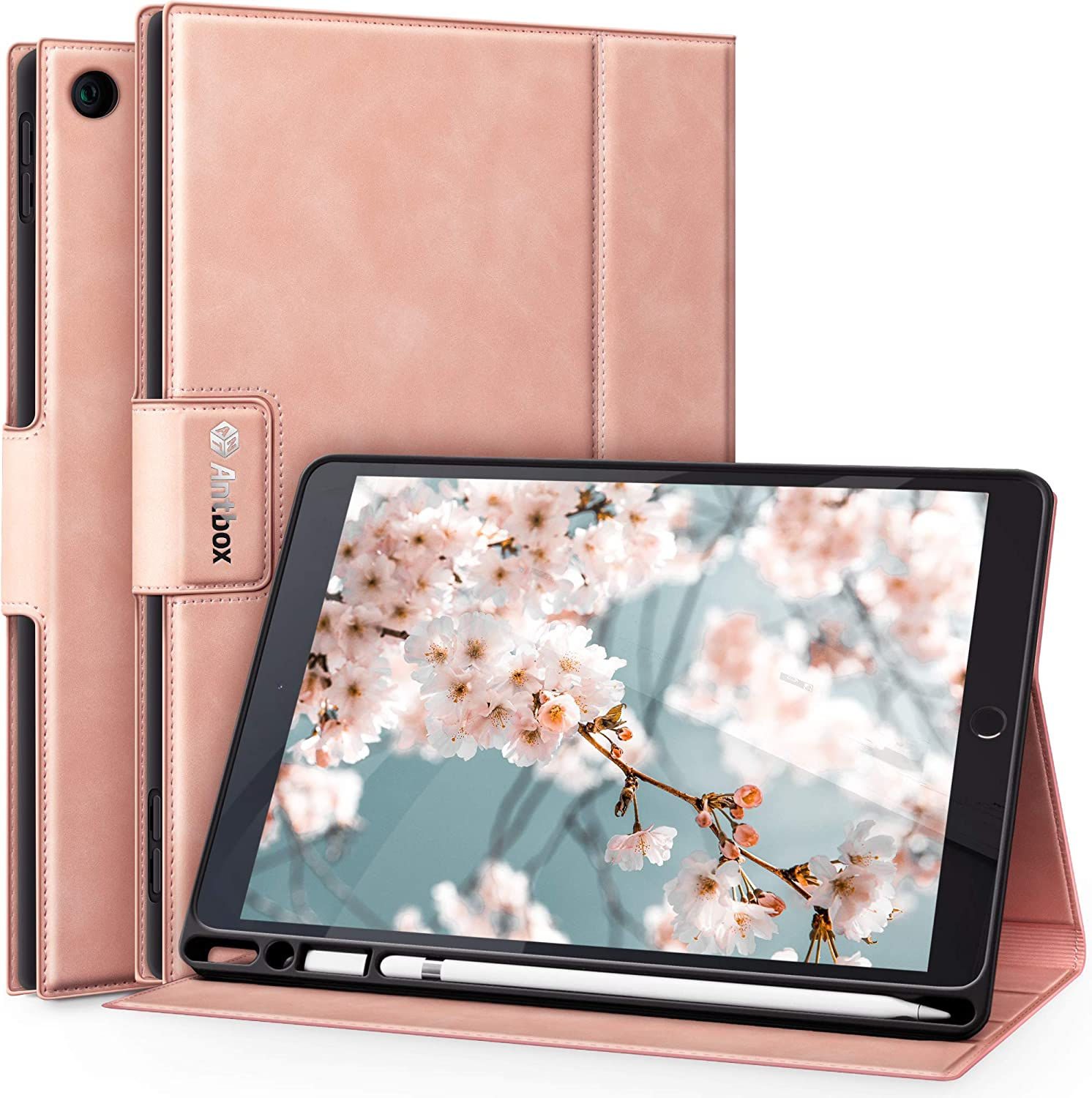 Antbox Case for iPad 8th Generation Pink Case for Girls iPad 7th Generation with Apple Pencil Holder Auto Sleep/Wake Function PU Leather Smart iPad 10.2'' Case(Pink)