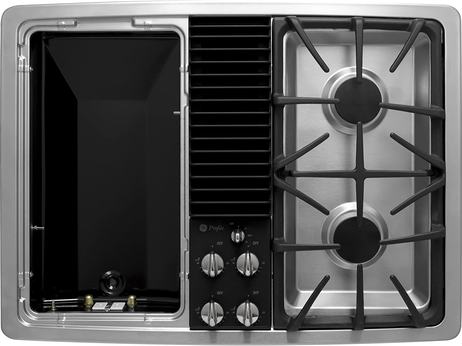 Amazon Com Ge Profile Pgp990senss 30 Downdraft Gas Modular Cooktop 2 Sealed Burners Stainless Steel Appliances