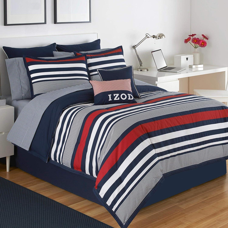 IZOD Varsity Stripe Comforter Set, Queen, Red/Navy