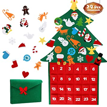 Tencoz Felt Christmas Tree Fabric Advent Calendar, 24 Days Countdown to  Xmas DIY Decorations Wall Door Hanging Gift with Pockets for Kids