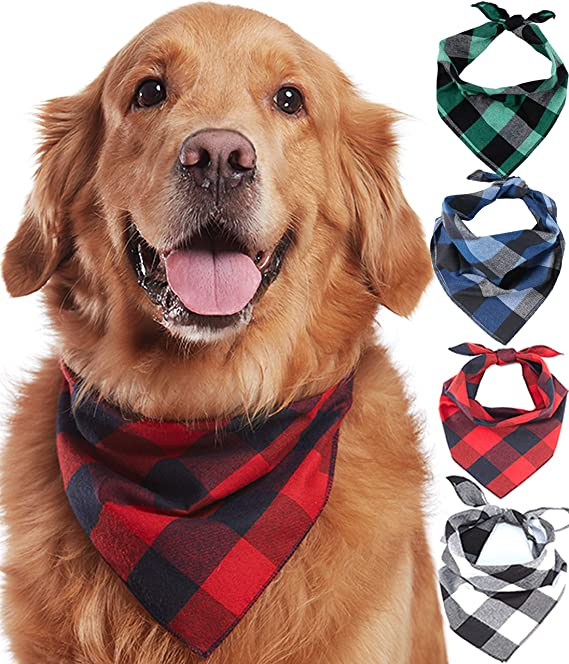 Amazon Com Odi Style Buffalo Plaid Dog Bandana 4 Pack Cotton Bandanas Handkerchiefs Scarfs Triangle Bibs Accessories For Small Medium Large Dogs Puppies Pets Black And White Red Green Blue And