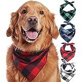 Odi Style Buffalo Plaid Dog Bandana 4 Pack - Cotton Bandanas Handkerchiefs Scarfs Triangle Bibs Accessories for Small Medium