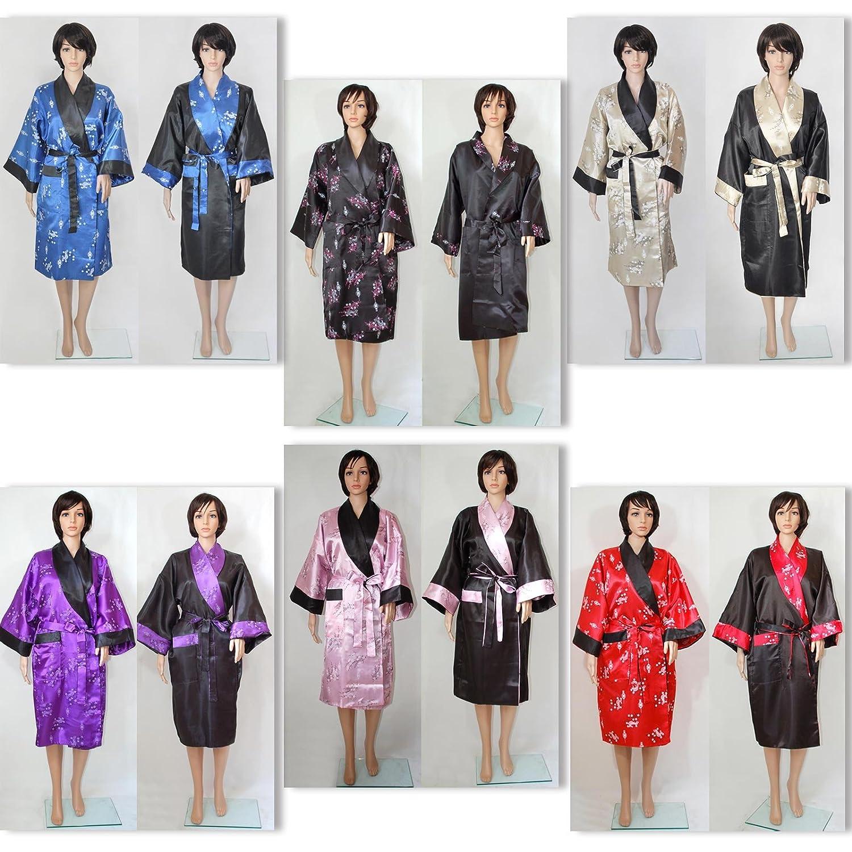 Peignoir satin kimono robe de chambre tunique réversible