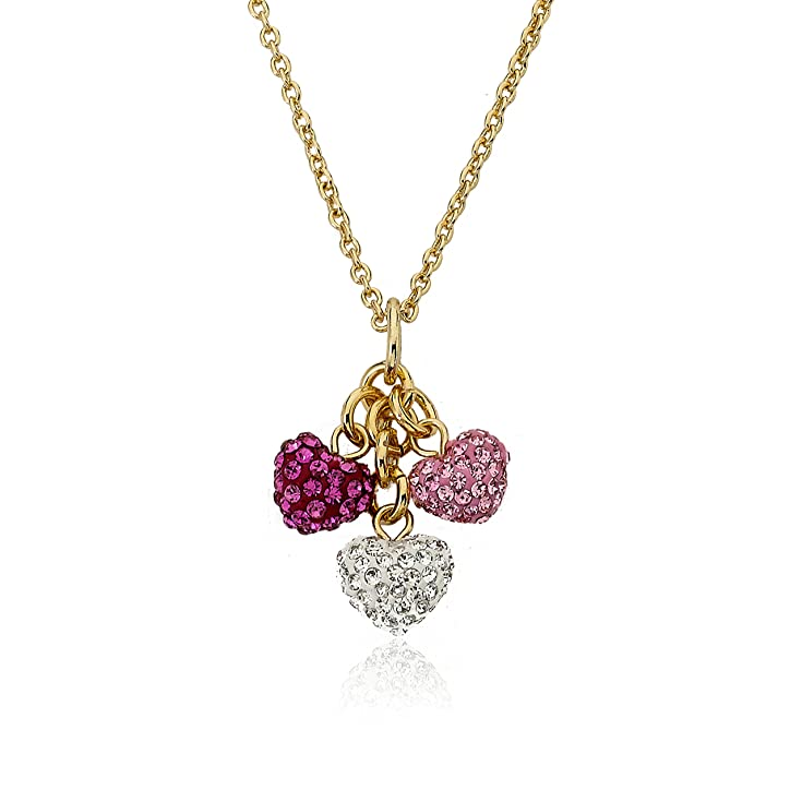 "Molly Glitz ""Heart Of Jewels"" 14k Gold-Plated Pink, Hot Pink and White Heart Cluster Chain Necklace"