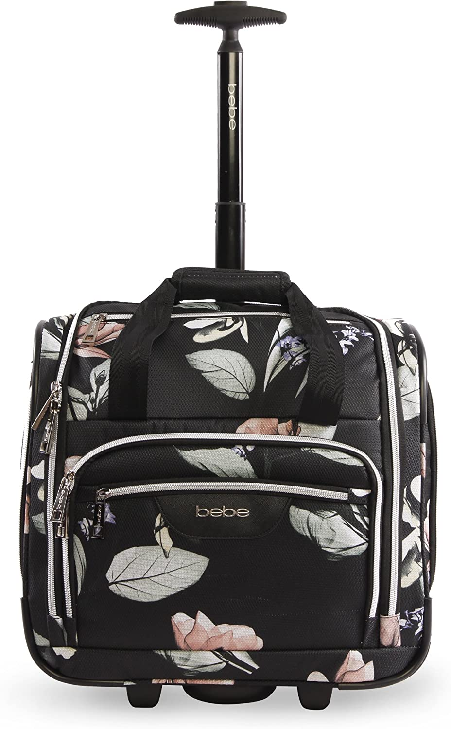 BEBE Women's Valentina-Wheeled Under The Seat Carry-on Bag, Black Floral