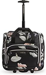 BEBE Womens Valentina-Wheeled Under The Seat Carry-on Bag, Black Floral