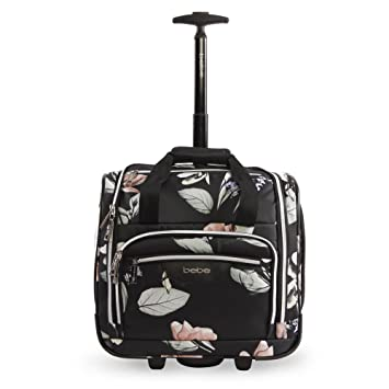 8264ad18d Amazon.com | BEBE Women's Valentina-Wheeled Under The Seat Carry-on Bag,  Black Floral | Carry-Ons