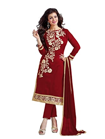 MANVAA Women's Silk Salwar Suit Dress Material(SMFDG5307E_Red ...