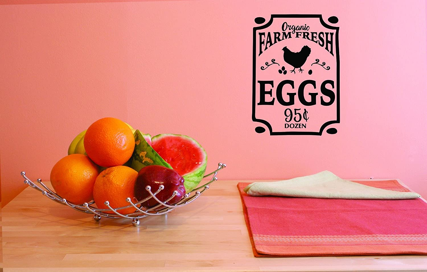 Design with Vinyl JER 1755 3 3 Hot New Decals Organic Farm Fresh Eggs 95 Cents Dozen Wall Art Size 20 inches x 40 inches Color 20 x 40 Black