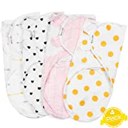 Swaddle Blanket for Girls | Adjustable Infant Wrap | GOLD DOTS