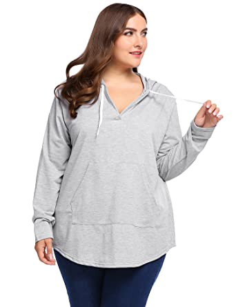 501dcb6cc4e Women Plus Size Long Sleeve Tunic Tops V-Neck Hooded Sweatshirts Pullover  Hoodie