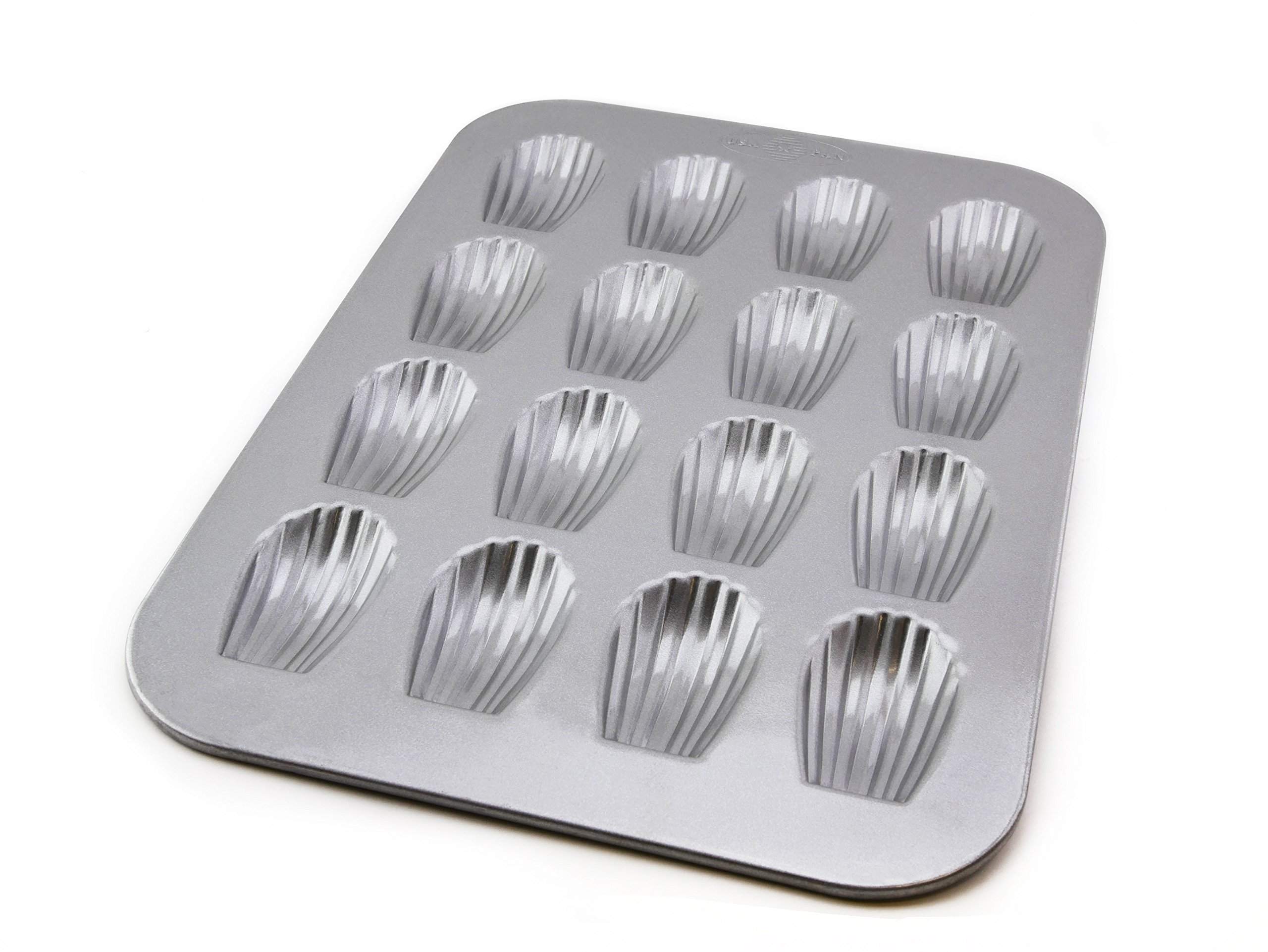 USA Pan Bakeware Madeleine Pan with 16 Wells, Warp Resistant Nonstick Baking Pan, Made in the USA from Aluminized Steel