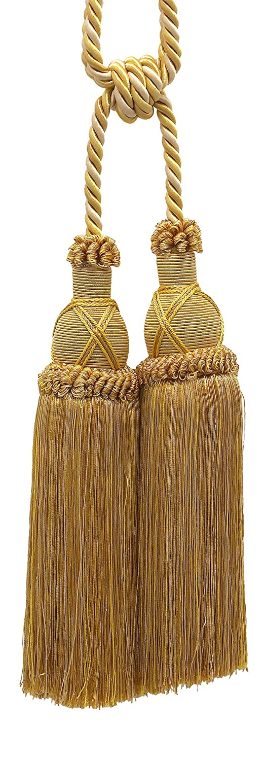 Beautiful Antique Gold Curtain & Drapery Large Double Tassel Tieback / 10' Tassel, 30 1/2' Spread (Embrace), 3/8' Cord, Imperial II Collection Style# TBIC-2 Color: Rustic Gold - 4975 30 1/2 Spread (Embrace) 3/8 Cord DecoPro