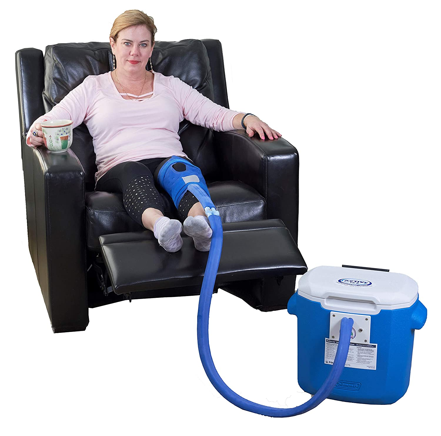 Polar Products Active Ice® 3.0 Knee & Joint Cold Therapy System with Digital Timer Includes Knee Bladder 15 Quart Cooler
