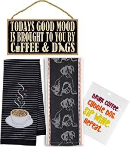 Coffee Towel, Dog Tea Towel, Funny Decor Wood Sign, Dishcloth   Decorative Coffee Cup Mug Themed Kitchen Towel, Dogs Dishtowel, Wall Hanging Wooden Sign, Swedish Dish Cloth   Set of 4 Items
