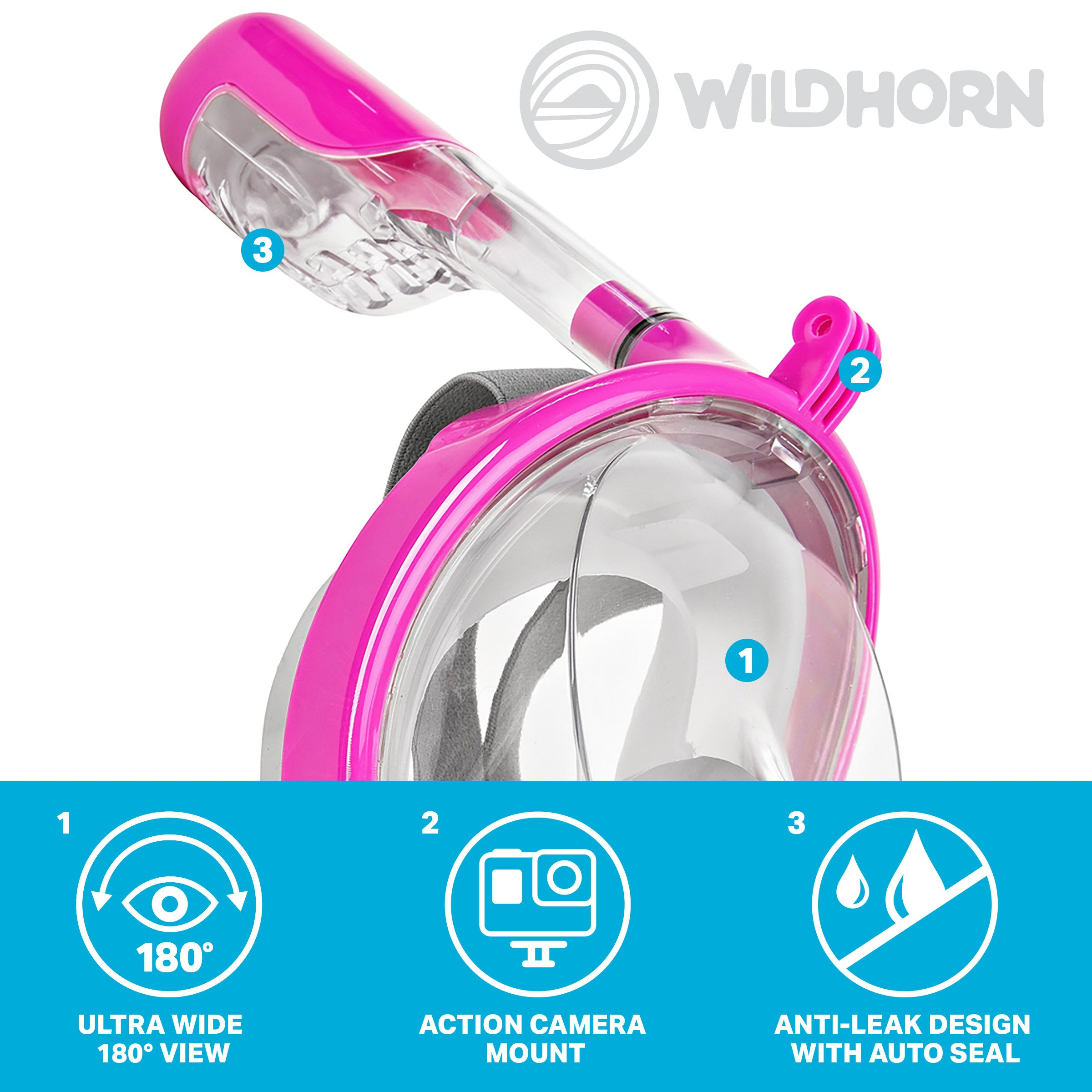 Seaview 180° GoPro Compatible Snorkel Mask- Panoramic Full Face Design. See More With Larger Viewing Area Than Traditional Masks. Prevents Gag Reflex with Tubeless Design (Lotus, S/M) by WildHorn Outfitters (Image #4)