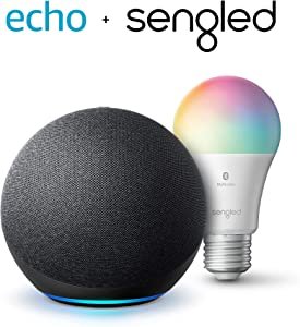 Echo (4th Gen) | With premium sound, smart home hub, and Alexa | Charcoal with Sengled Bluetooth Color bulb