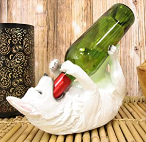 Ebros Lifelike Purebreed Pedigree Canine German Shepherd Dog Wine Bottle Holder Figurine As Kitchen Wine Cellar Countertop Centerpiece Home Decor Accent Dogs Puppies Statue (White)