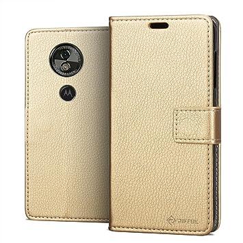 RIFFUE® Funda Motorola Moto G6 Play/Moto E5, Carcasa Libro Suave Delgada con Tapa Flip Folio de PU + Silicona Elegante Retro, Soporte Plegable, ...