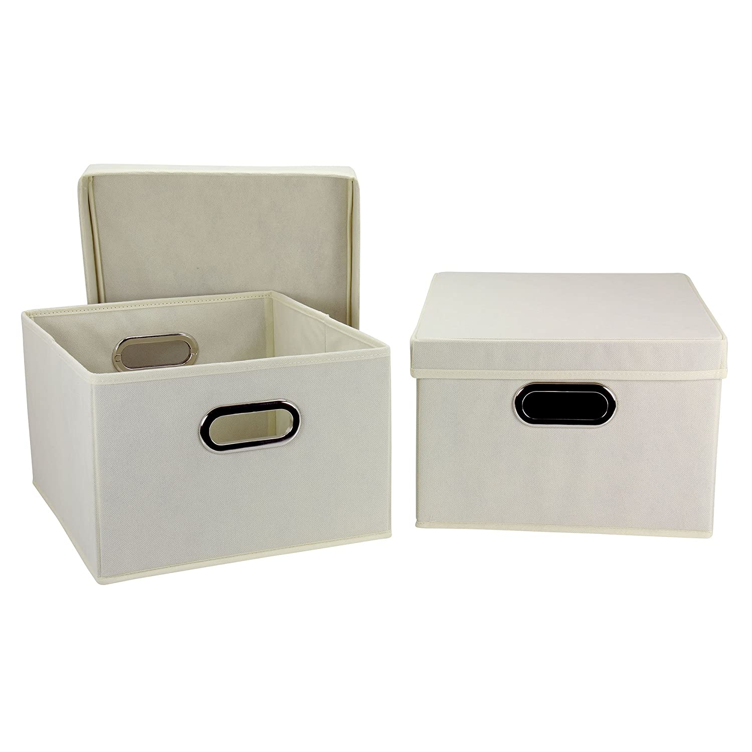 Amazon.com: Household Essentials Fabric Storage Boxes With Lids And  Handles: Home U0026 Kitchen