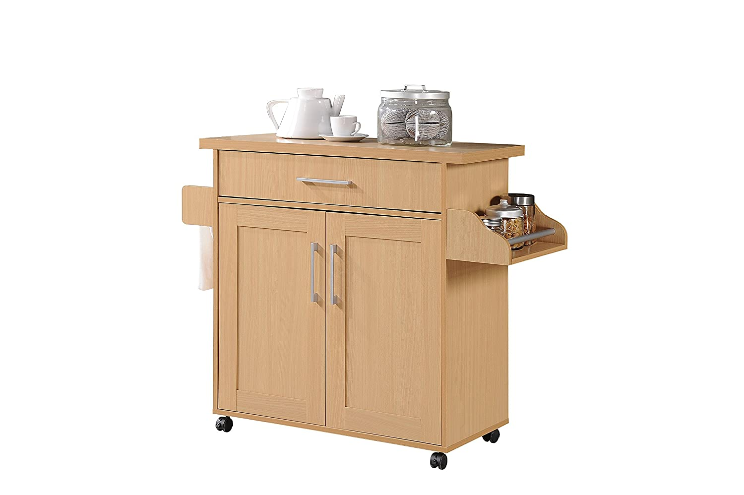 Hodedah Kitchen Island with Spice Rack, Towel Rack & Drawer, Beech