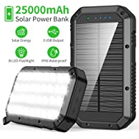 Cargador Solar 25000mAh, Solar Power Bank con 3 Salidas USB Cargador Rápido de Teléfono Celular, Batería Externa Solar…