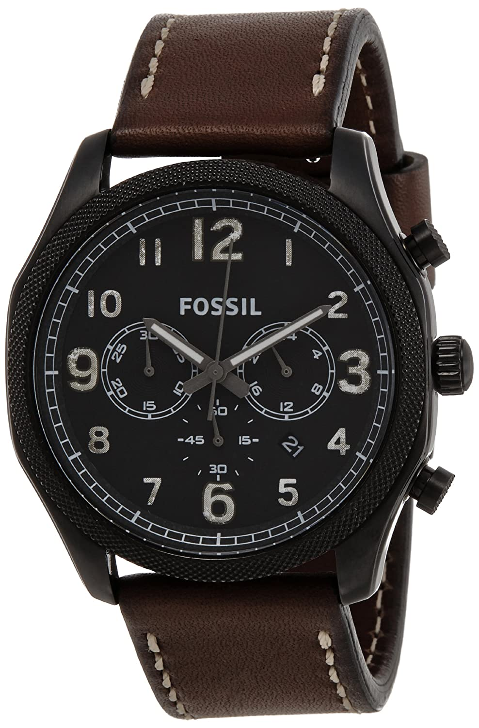 fossil men s foreman fs4887 brown leather quartz watch black fossil men s foreman fs4887 brown leather quartz watch black dial fossil amazon ca watches