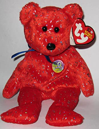 Image Unavailable. Image not available for. Color  TY Beanie Babies Decade  the 10 Year Anniversary Bear Plush Toy Stuffed Animal - Red Version e9444ee59aea