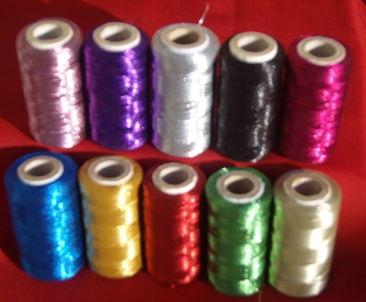 10 Metallic Embroidery Machine Thread Spools,10 different colour 400 YARDS EACH, High Quality GCS