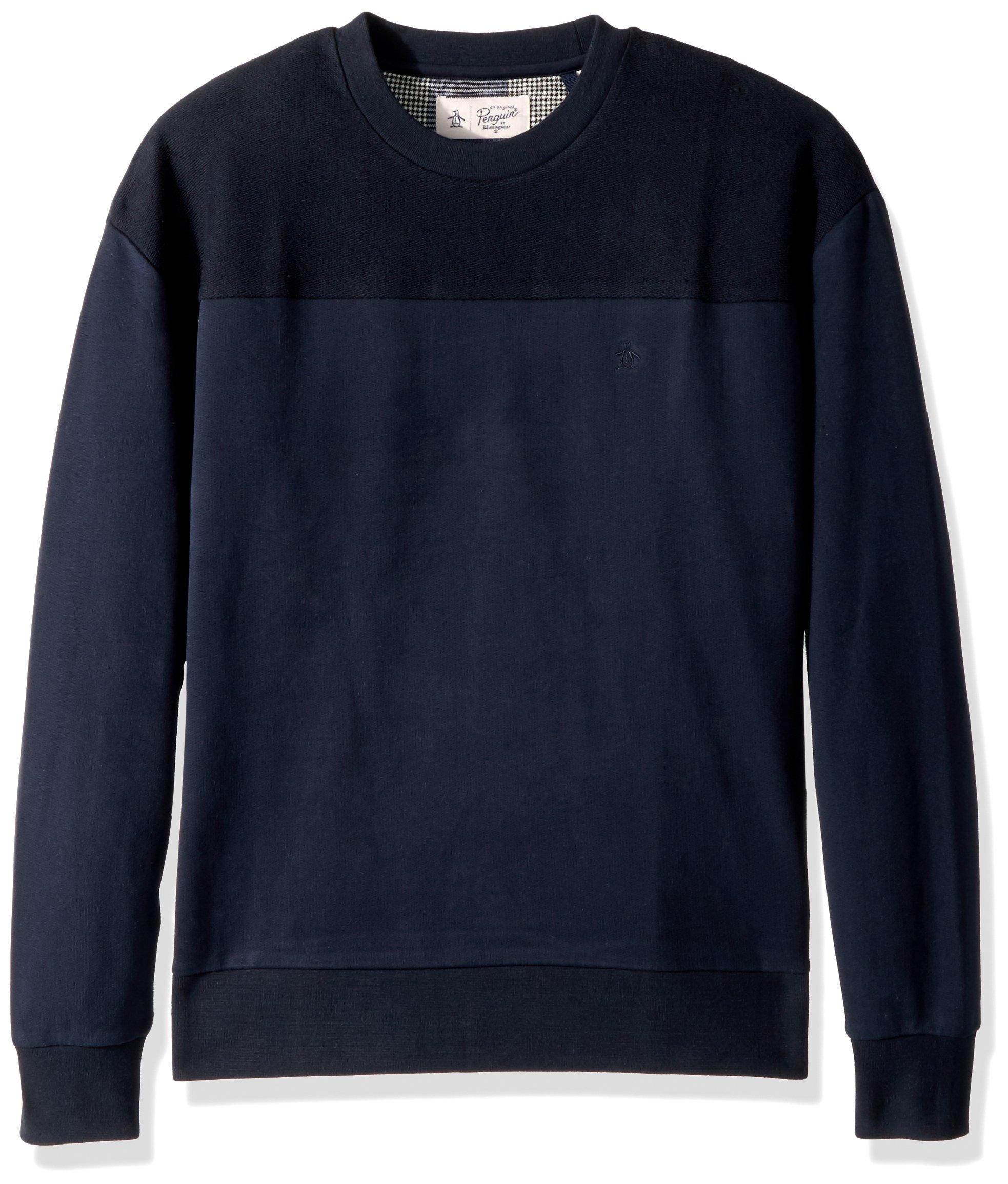 Original Penguin Men's Drop Shoulder Crew Sweater, Dark Sapphire, Medium