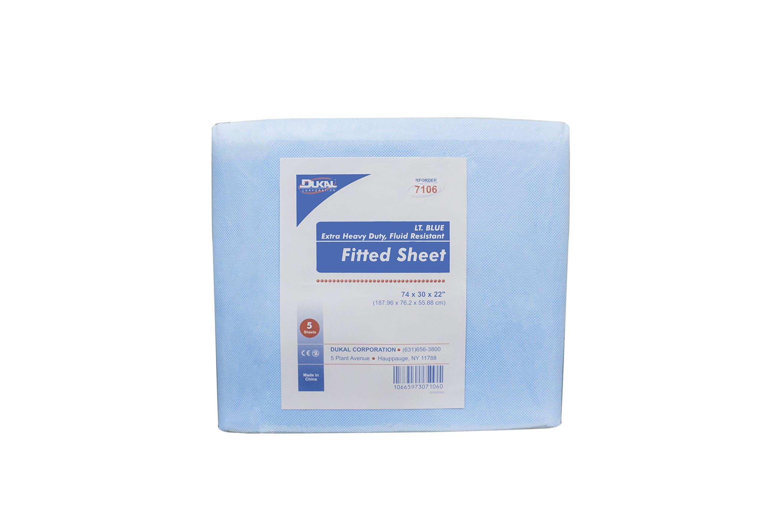 DUKAL 7106 Flat SHeet, Fluid Resistent, Light Blue, 74'' x 30''x 22'', Non Sterile