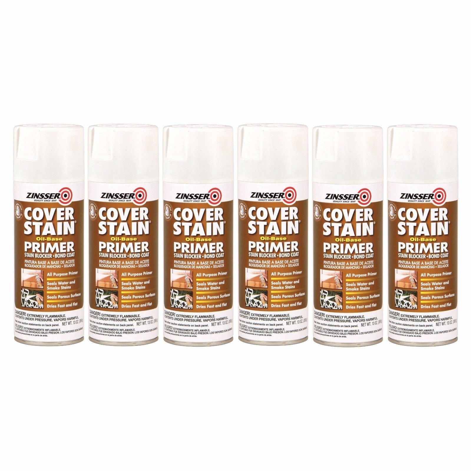 Flat White Cover Stain Oil-Base Primer Sealer Spray [Set of 6] by Rust-Oleum