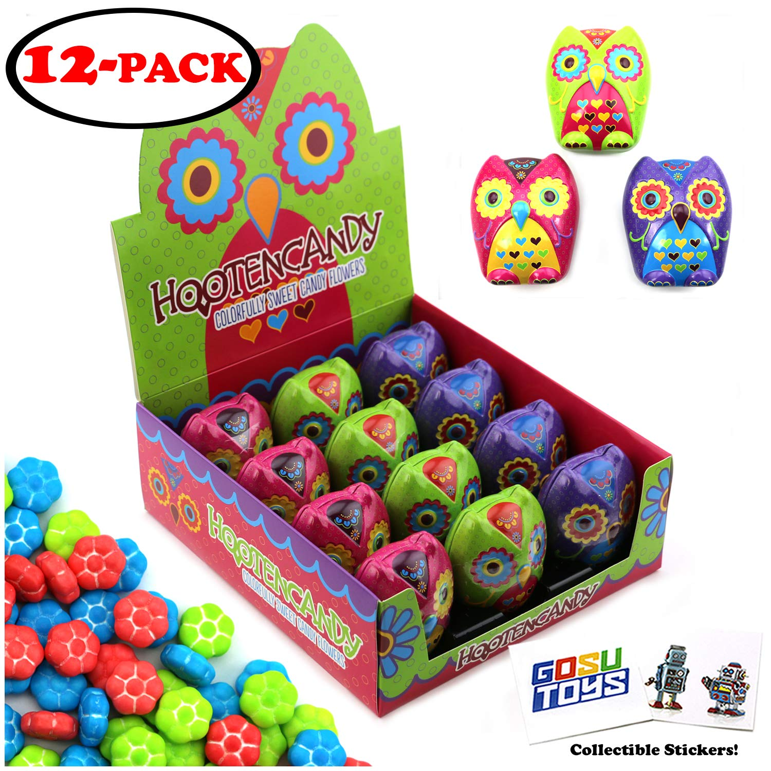 Hooten Owl Tin Candy (12 Pack Case) Colorful Design Sweet Flavor Berry Shape Festive Gift Stuffer with 2 GosuToys Stickers