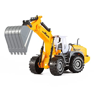 Friction Powered Wheeled Excavator Truck with Claws Push and Go Inertia Construction Toy for Boys and Girls Realistic 1:16 Scale Design