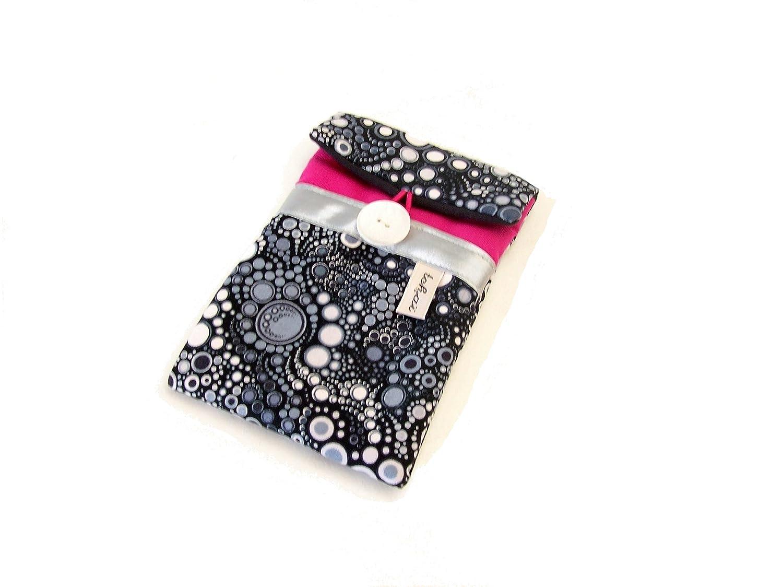 étui téléphone fuchsia et noir a motifs bulles , pochette iphone en toile et tissu effervescence , housse matelassée imprimé graphique