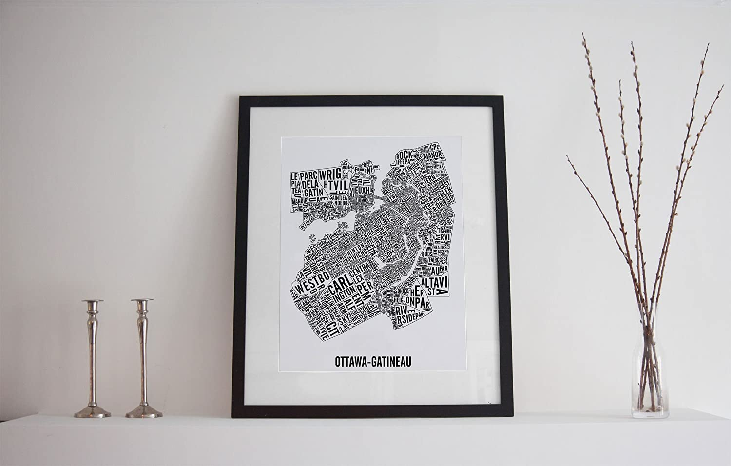 Ottawa-Gatineau Neighborhoods Typographic City Map Poster - Ottawa Art - Ottawa Print