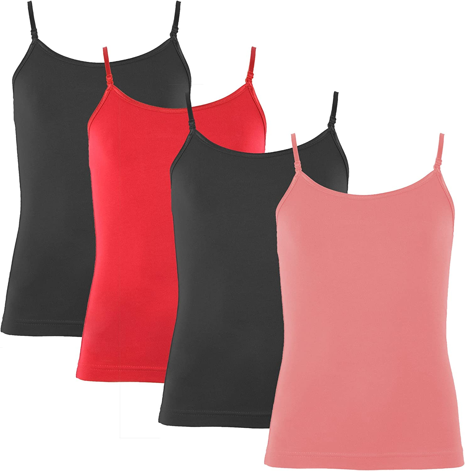 4 Pack Popular Girls Cotton Camisole with Adjustable Straps