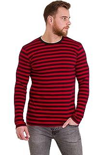 f68558e7 Amazon.com: Mens Indie Retro 60's Black & White Striped Long Sleeve ...