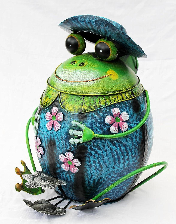 Frosch mit Hut Abfalleimer Blau BL61 Treteimer Mülleimer aus Metall 45cm Eimer