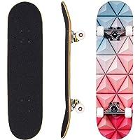 Seasonland Tabla de skate de 7 capas de 78,7 x 20,3 cm, tabla de skate completa de madera de arce para adolescentes…