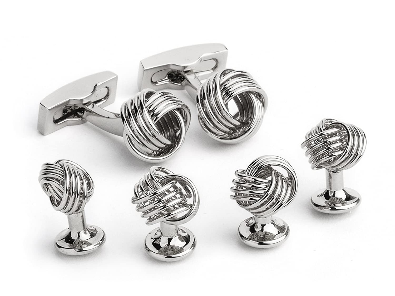 Ike Behar Men's Silver Tone Knot Cufflink/Stud Sets One Size FS105S