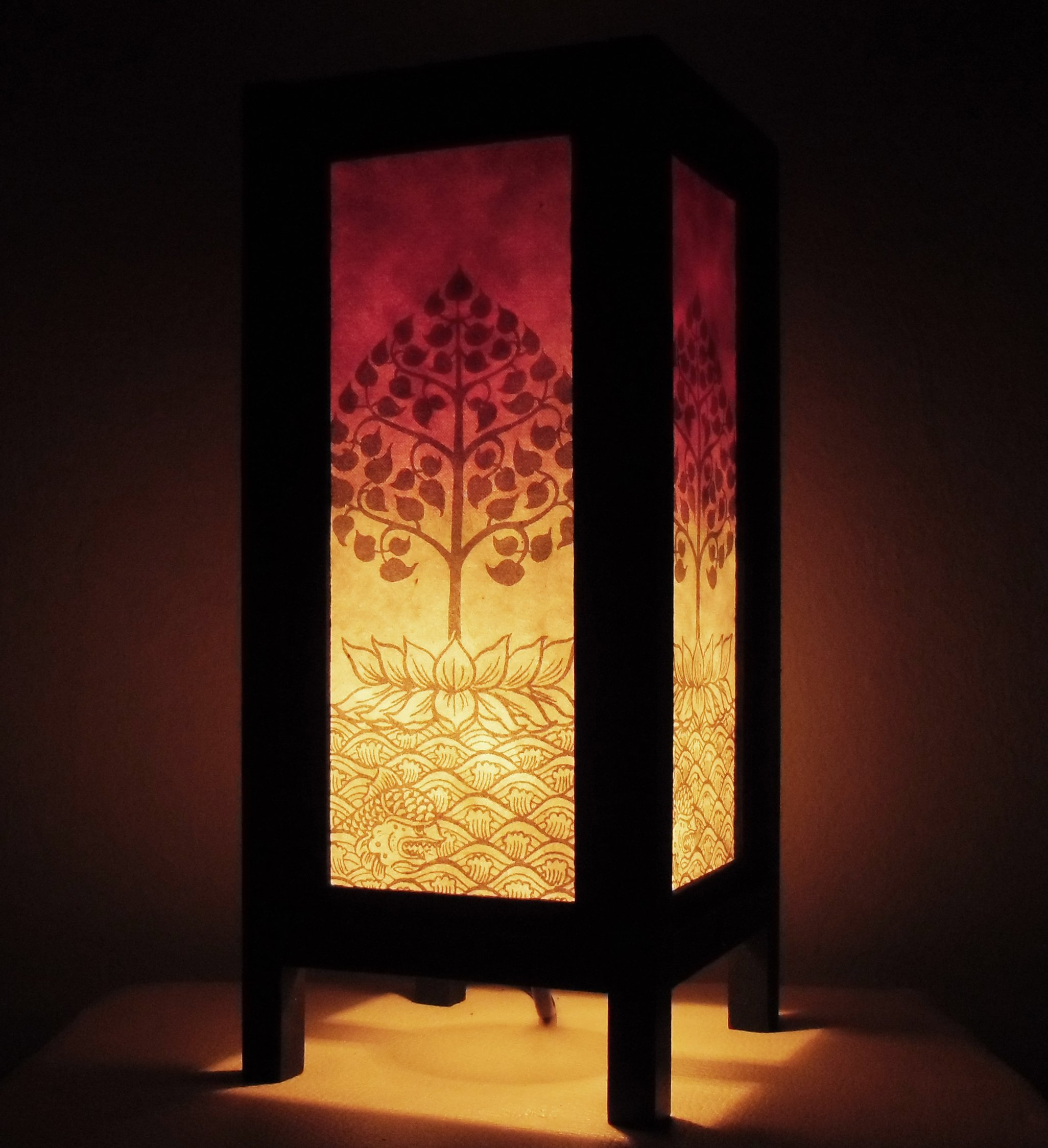 Thai Vintage Handmade ASIAN Oriental Handcraft Thailand Buddha Lotus Peaceful Art Bedside Table Light or Floor Wood Lamp Home Bedroom Decor Modern Design from Thailand by Red berry Thailand Lanna Lamp