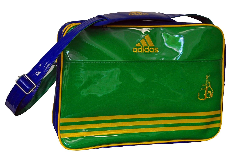 Adidas ADIACC110CS2 Boxe - Bolso bandolera (46 x 32 x 19 cm), color azul y blanco, color verde y azul, tamaño large