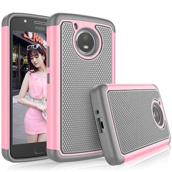 cheaper 91b2f 2b115 Tekcoo for Moto E4 Case, for 2017 Motorola Moto E 4th Generation Case for  Girls, [Tmajor] Shock Absorbing [Baby Pink] Rubber Silicone & Plastic ...