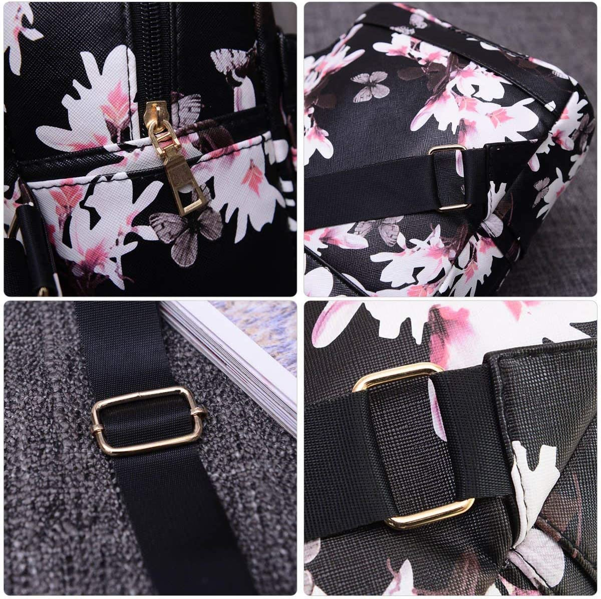 Women Girls Mini Backpack Causal Floral Printing Leather Bag