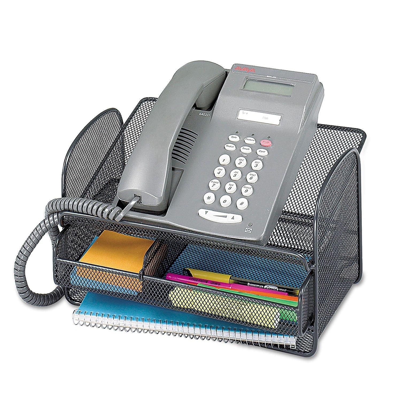 ** Onyx Angled Mesh Steel Telephone Stand, 11 3/4 x 9 1/4 x 7, Black