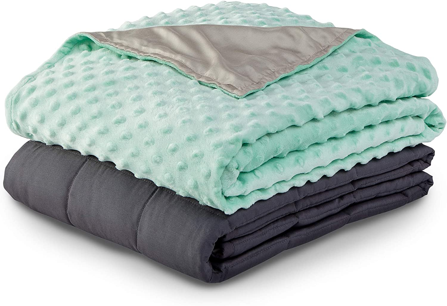 """PureCare Zensory Kids 7 lb. Weighted Blanket with Duvet, Hypoallergenic Glass Beads & Soft Minky Fleece Duvet, 41"""" X 60"""", Gray and Teal (PCZWB7)"""