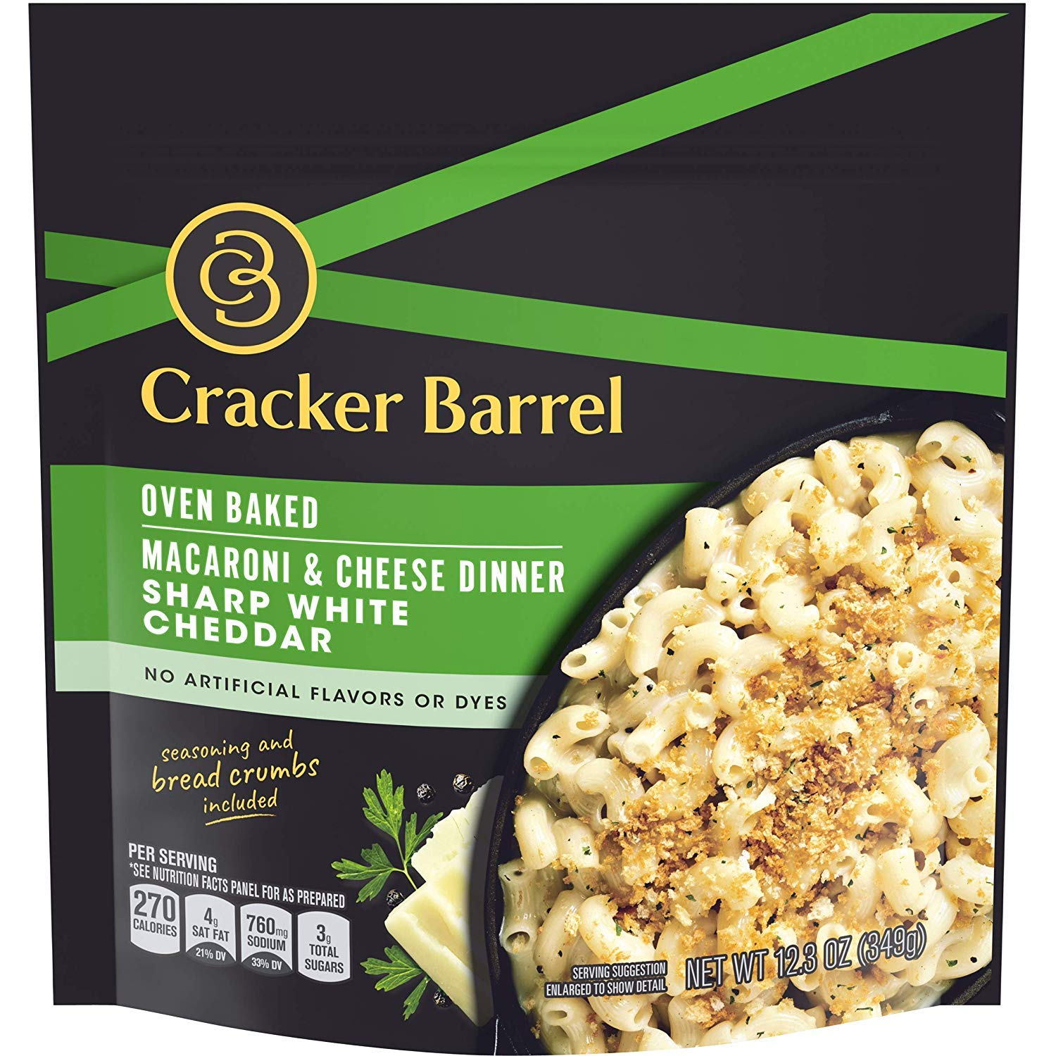 Cracker Barrel Oven Baked Sharp White Cheddar Macaroni and Cheese Dinner, 12.3 oz Pouch (3)