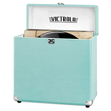 Victrola Vintage Vinyl Record Storage Carrying Case For 30+ Records (Dust/Scratch Free) (Aqua Turquoise)